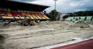 FOTOS | Así marcha la recuperación del campo de juego en el Olímpico de la UCV