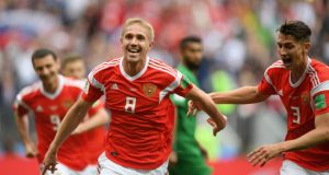 Yuri Gazinski anota el primer gol del Mundial de Rusia 2018